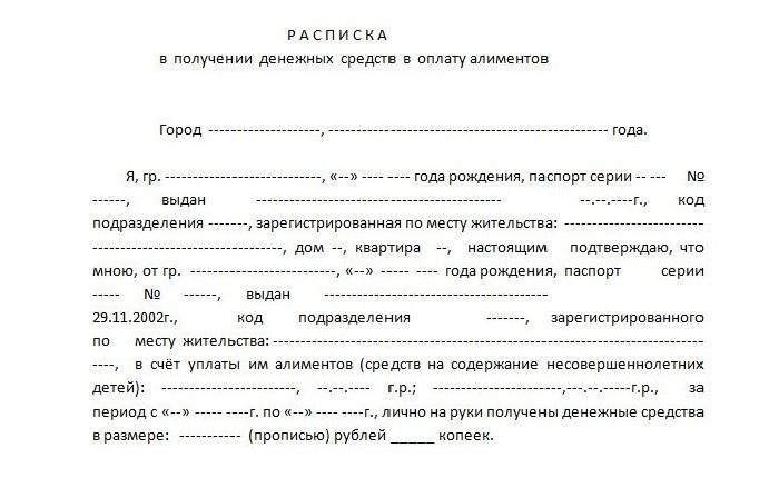 Пример бланка расписки
